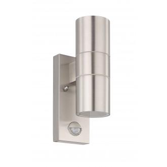 EGLO 32898 | Riga-5 Eglo zidna svjetiljka sa senzorom 2x GU10 480lm 3000K IP44 plemeniti čelik, čelik sivo, prozirna