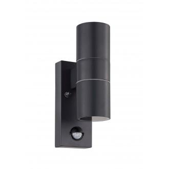 EGLO 32899 | Riga-5 Eglo zidna svjetiljka cilindar sa senzorom 2x GU10 480lm 3000K IP44 antracit, prozirna