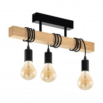 EGLO 32915 | Townshend Eglo stropne svjetiljke svjetiljka 3x E27 crno, smeđe