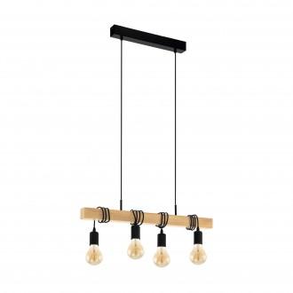 EGLO 32916 | Townshend Eglo visilice svjetiljka 4x E27 crno, smeđe