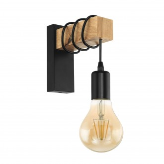EGLO 32917 | Townshend Eglo zidna svjetiljka 1x E27 crno, smeđe