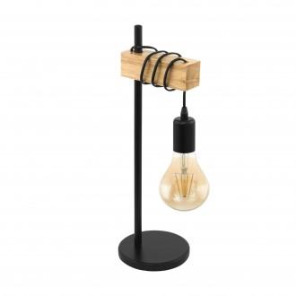 EGLO 32918 | Townshend Eglo stolna svjetiljka 50cm sa prekidačem na kablu 1x E27 crno, smeđe