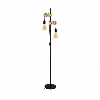 EGLO 32919 | Townshend Eglo podna svjetiljka 166,5cm sa prekidačem na kablu 2x E27 crno, smeđe