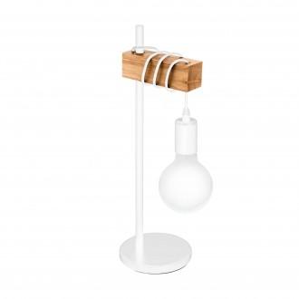 EGLO 33163 | Townshend Eglo stolna svjetiljka 50cm sa prekidačem na kablu 1x E27 bijelo, smeđe