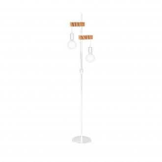 EGLO 33167 | Townshend Eglo podna svjetiljka 166,5cm sa prekidačem na kablu 2x E27 bijelo, smeđe