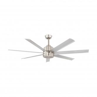 EGLO 35021 | Azar-60 Eglo ventilator stropne svjetiljke daljinski upravljač s podešavanjem visine satenski nikal, brušeni aluminij