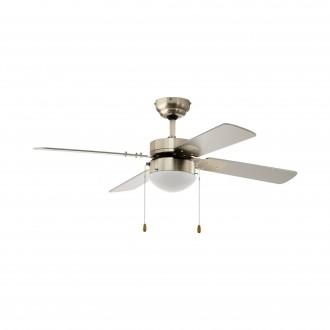 EGLO 35041 | Gelsina Eglo ventilatorska lampa stropne svjetiljke s poteznim prekidačem 1x E14 satenski nikal, srebrno, bijelo