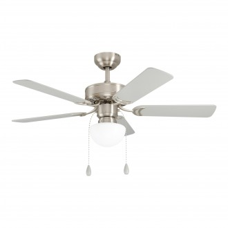 EGLO 35074 | Cadiz-EG Eglo ventilatorska lampa stropne svjetiljke s poteznim prekidačem može se upravljati daljinskim upravljačem 1x E27 satenski nikal, srebrno, boja hrasta