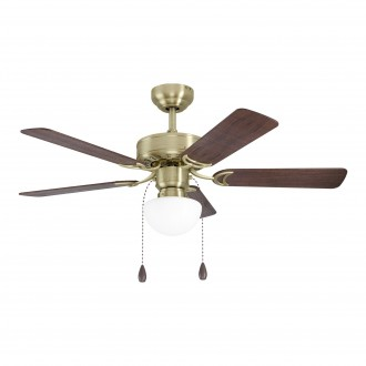 EGLO 35075 | Cadiz-EG Eglo ventilatorska lampa stropne svjetiljke s poteznim prekidačem može se upravljati daljinskim upravljačem 1x E27 bronca, boja oraha, boja hrasta