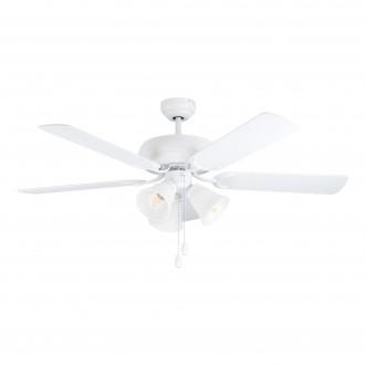 EGLO 35076 | Las-Palmas Eglo ventilatorska lampa stropne svjetiljke s poteznim prekidačem može se upravljati daljinskim upravljačem 3x E27 bijelo mat, boja hrasta