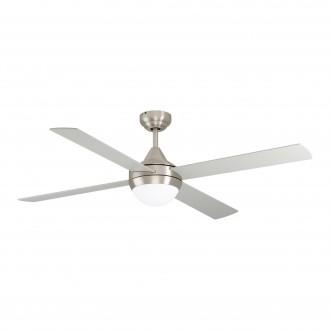 EGLO 35083 | Varadero Eglo ventilatorska lampa stropne svjetiljke daljinski upravljač timer 2x E27 satenski nikal, srebrno, boja hrasta