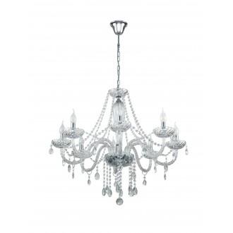 EGLO 39101 | Basilano Eglo luster svjetiljka 8x E14 krom, prozirna