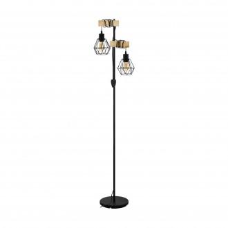 EGLO 43137 | Townshend-5 Eglo podna svjetiljka 166,5cm sa prekidačem na kablu 2x E27 crno, bezbojno, smeđe