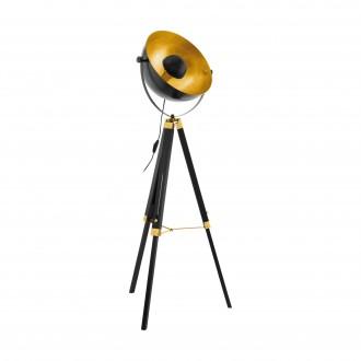EGLO 49618 | Covaleda Eglo podna svjetiljka 164cm sa prekidačem na kablu elementi koji se mogu okretati 1x E27 crno, mesing, zlatno