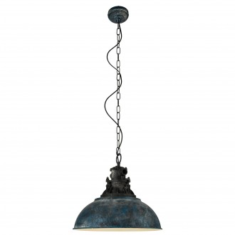 EGLO 49753 | Grantham_1 Eglo visilice svjetiljka 1x E27 antik plava, crno