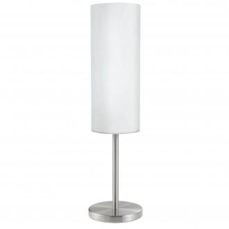 EGLO 85981 | Troy3 Eglo stolna svjetiljka 46cm sa prekidačem na kablu 1x E27 poniklano mat, bijelo, saten