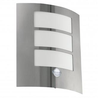 EGLO 88142 | City Eglo zidna svjetiljka sa senzorom 1x E27 IP44 plemeniti čelik, čelik sivo, bijelo