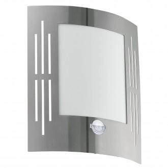 EGLO 88144 | City Eglo zidna svjetiljka sa senzorom 1x E27 IP44 plemeniti čelik, čelik sivo, bijelo