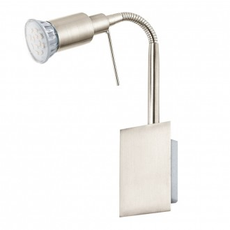 EGLO 90823   Eridan Eglo zidna svjetiljka sa prekidačem na kablu fleksibilna 1x GU10 400lm 3000K poniklano mat