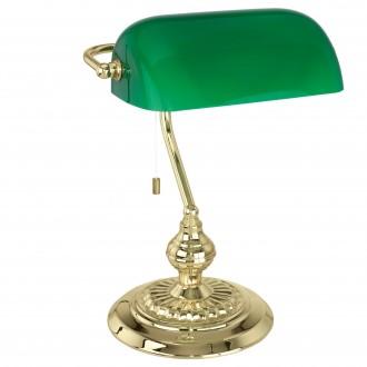 EGLO 90967 | Banker Eglo stolna svjetiljka 39cm s poteznim prekidačem 1x E27 mesing, zeleno
