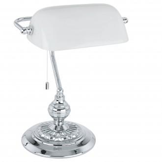 EGLO 90968 | Banker Eglo stolna svjetiljka 39cm s poteznim prekidačem 1x E27 krom, bijelo
