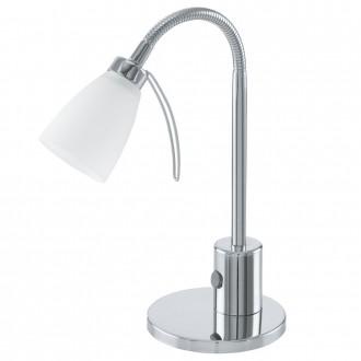 EGLO 91465 | Cariba Eglo stolna svjetiljka 30cm sa prekidačem na kablu fleksibilna 1x G9 krom, bijelo