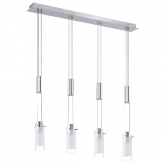 EGLO 91546 | Aggius Eglo visilice svjetiljka balansna - ravnotežna, sa visinskim podešavanjem 4x LED 1600lm 3000K krom, bijelo, prozirna
