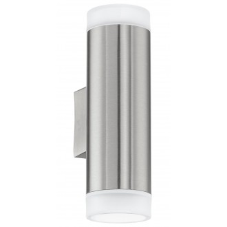 EGLO 92736 | RigaLED Eglo zidna svjetiljka 2x GU10 400lm 4000K IP44 plemeniti čelik, čelik sivo