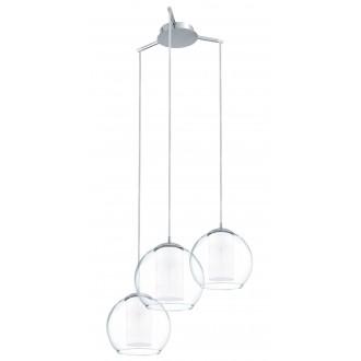 EGLO 92762 | Bolsano Eglo visilice svjetiljka 3x E27 krom, prozirno, bijelo