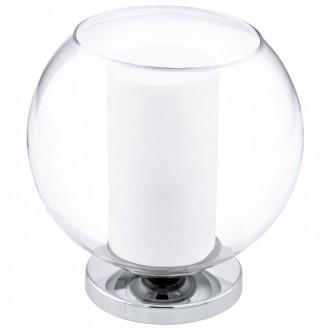EGLO 92763 | Bolsano Eglo stolna svjetiljka 20cm sa prekidačem na kablu 1x E27 krom, prozirna, bijelo