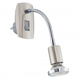 EGLO 92933 | Mini-4 Eglo utična svjetiljka svjetiljka s prekidačem 1x GU10 240lm 3000K poniklano mat, krom