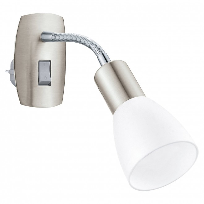 EGLO 92935 | Dakar-3 Eglo utična svjetiljka svjetiljka s prekidačem fleksibilna 1x E14 poniklano mat, krom