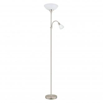EGLO 93207 | Up_LED Eglo podna svjetiljka 178cm sa prekidačem na kablu fleksibilna 1x E27 470lm + 1x E14 320lm 3000K poniklano mat, bijelo
