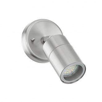 EGLO 93268 | Stockholm_LED Eglo zidna svjetiljka elementi koji se mogu okretati 1x GU10 400lm 3000K IP44 plemeniti čelik, čelik sivo, prozirno