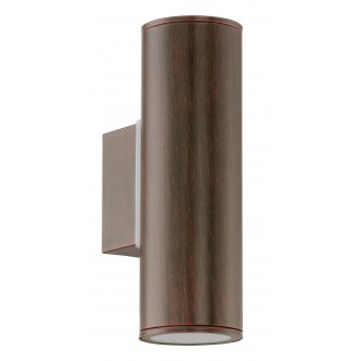 EGLO 94105 | RigaLED2 Eglo zidna svjetiljka cilindar 2x GU10 480lm 3000K IP44 braon antik