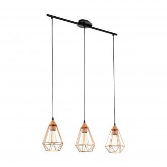 EGLO 94195 | Tarbes Eglo visilice svjetiljka 3x E27 crveni bakar, crno
