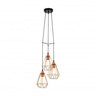EGLO 94196 | Tarbes Eglo visilice svjetiljka 3x E27 crveni bakar, crno