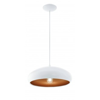 EGLO 94606 | Mogano Eglo visilice svjetiljka 1x E27 bijelo, mesing