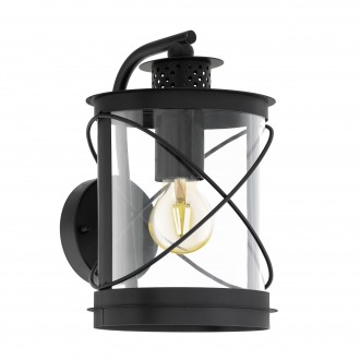 EGLO 94843   Hilburn Eglo zidna svjetiljka 1x E27 IP44 crno, prozirna