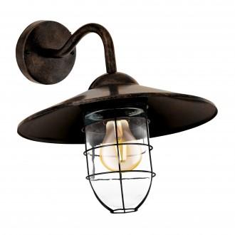 EGLO 94863 | Melgoa Eglo zidna svjetiljka 1x E27 IP44 antik crveni bakar, prozirna