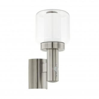 EGLO 95017 | Poliento Eglo zidna svjetiljka sa senzorom 1x E27 IP44 plemeniti čelik, čelik sivo, prozirna, bijelo
