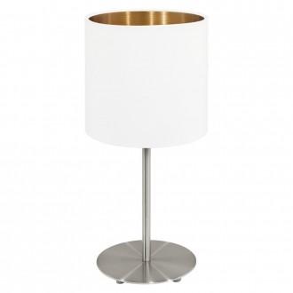 EGLO 95048   Eglo-Pasteri-WHC Eglo stolna svjetiljka 40cm sa prekidačem na kablu 1x E27 bijelo mat, mesing, poniklano mat