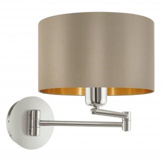 EGLO 95055 | Eglo-Maserlo-T Eglo zidna svjetiljka s prekidačem elementi koji se mogu okretati 1x E27 taupe, zlatno, poniklano mat
