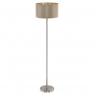 EGLO 95171 | Eglo-Maserlo-T Eglo podna svjetiljka 151cm sa nožnim prekidačem 1x E27 taupe, zlatno, poniklano mat