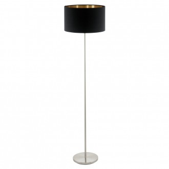 EGLO 95175 | Eglo-Pasteri-BC Eglo podna svjetiljka 151cm sa nožnim prekidačem 1x E27 crno mat, mesing, poniklano mat