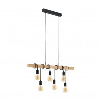 EGLO 95499 | Townshend Eglo visilice svjetiljka 6x E27 crno, smeđe