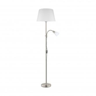 EGLO 95686 | Conesa Eglo podna svjetiljka 170cm sa prekidačem na kablu 1x E27 + 1x E14 poniklano mat, bijelo