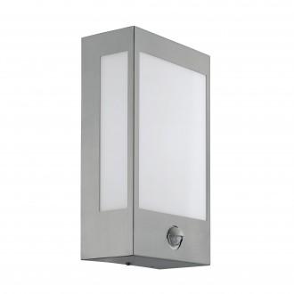 EGLO 95989 | Ralora Eglo zidna svjetiljka sa senzorom, svjetlosni senzor - sumračni prekidač 1x LED 1000lm 3000K IP44 plemeniti čelik, čelik sivo, bijelo