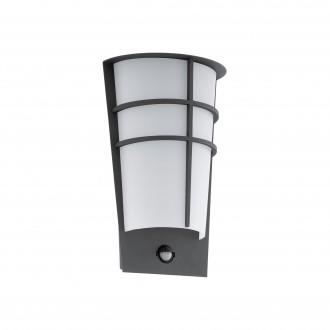 EGLO 96018 | Breganzo Eglo zidna svjetiljka sa senzorom, svjetlosni senzor - sumračni prekidač 2x LED 360lm 3000K IP44 antracit, bijelo