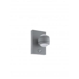 EGLO 96019 | Sesimba Eglo zidna svjetiljka sa senzorom, svjetlosni senzor - sumračni prekidač 2x LED 560lm 3000K IP44 srebrno, prozirna